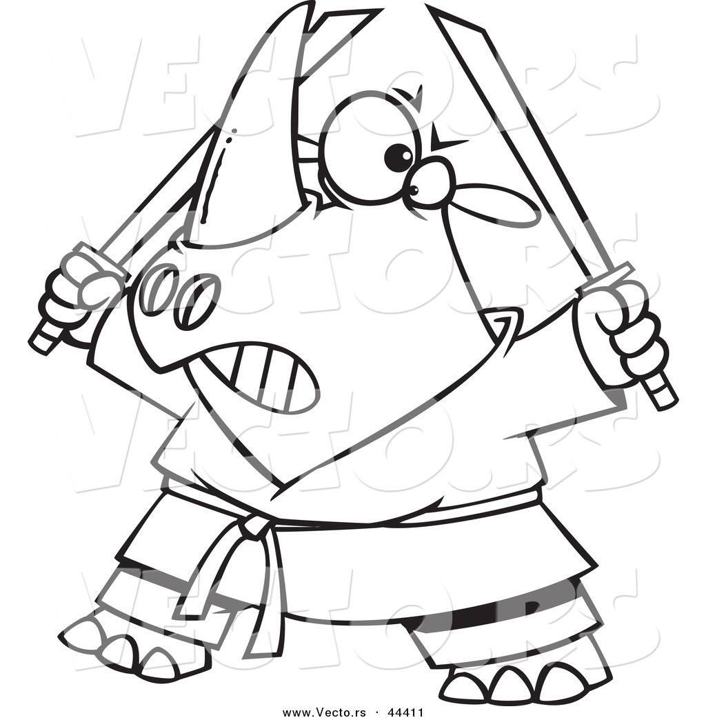 Vector of a Tough Cartoon Ninja Rhino Holding Swords  Coloring