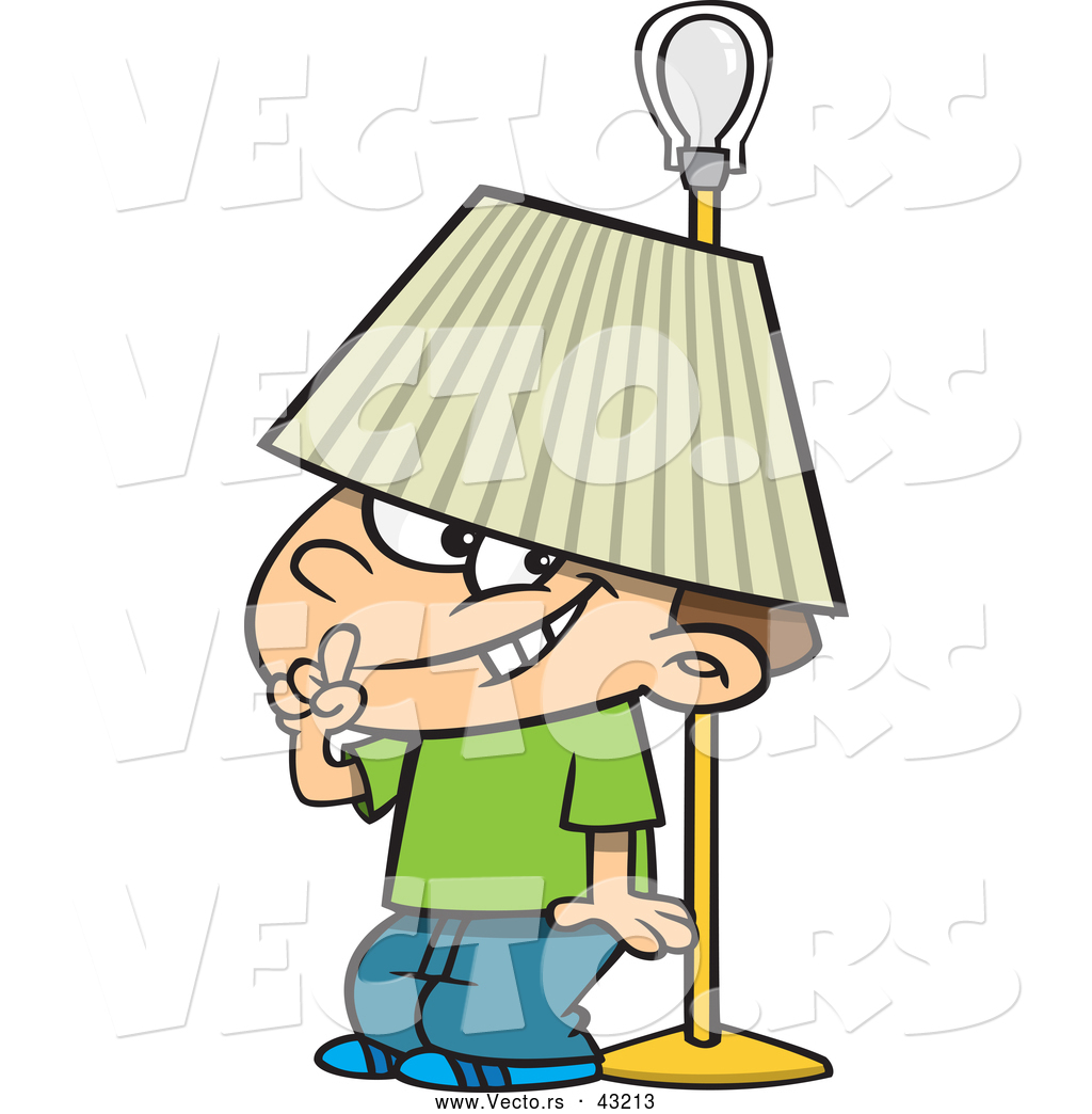 Vector of a Trouble Making Cartoon Boy Hiding Under a Lamp Shade ... for Lamp Shade Clip Art  186ref
