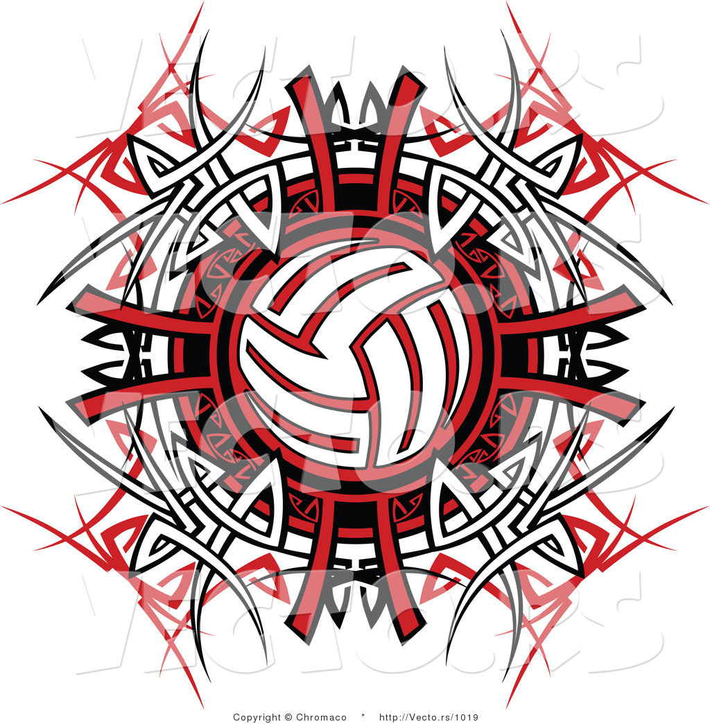 Vector Of A Volleyball Over Tribal Design By Chromaco 1019