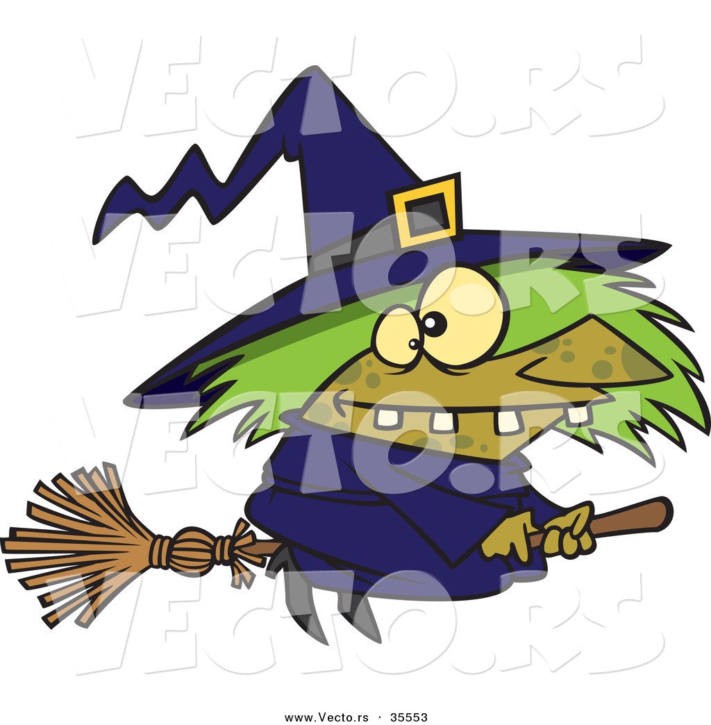 vector of a warted cartoon witch riding her broomstick on halloween - Halloween Witch Cartoon