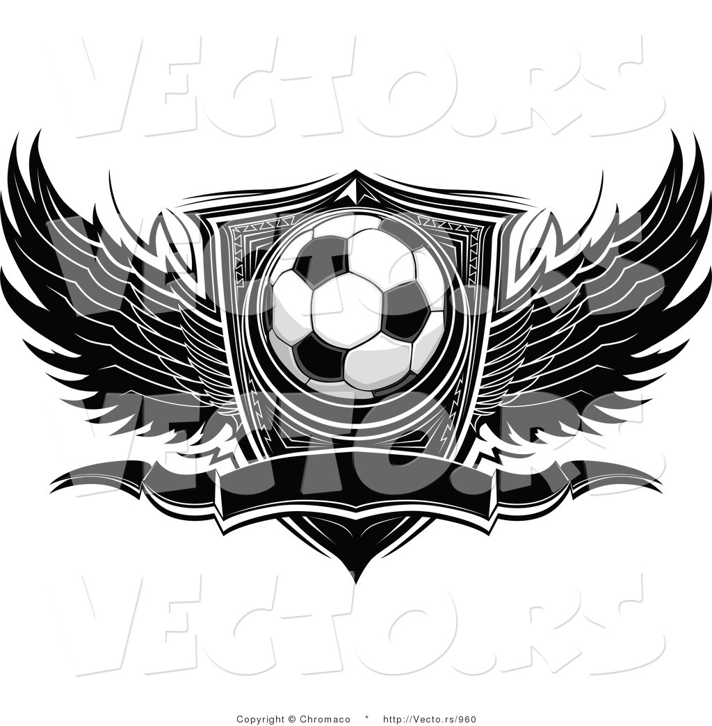 5c4e3dca69f Vector of a Winged Soccer Ball with Blank Banner and Shield - Black and  White Version