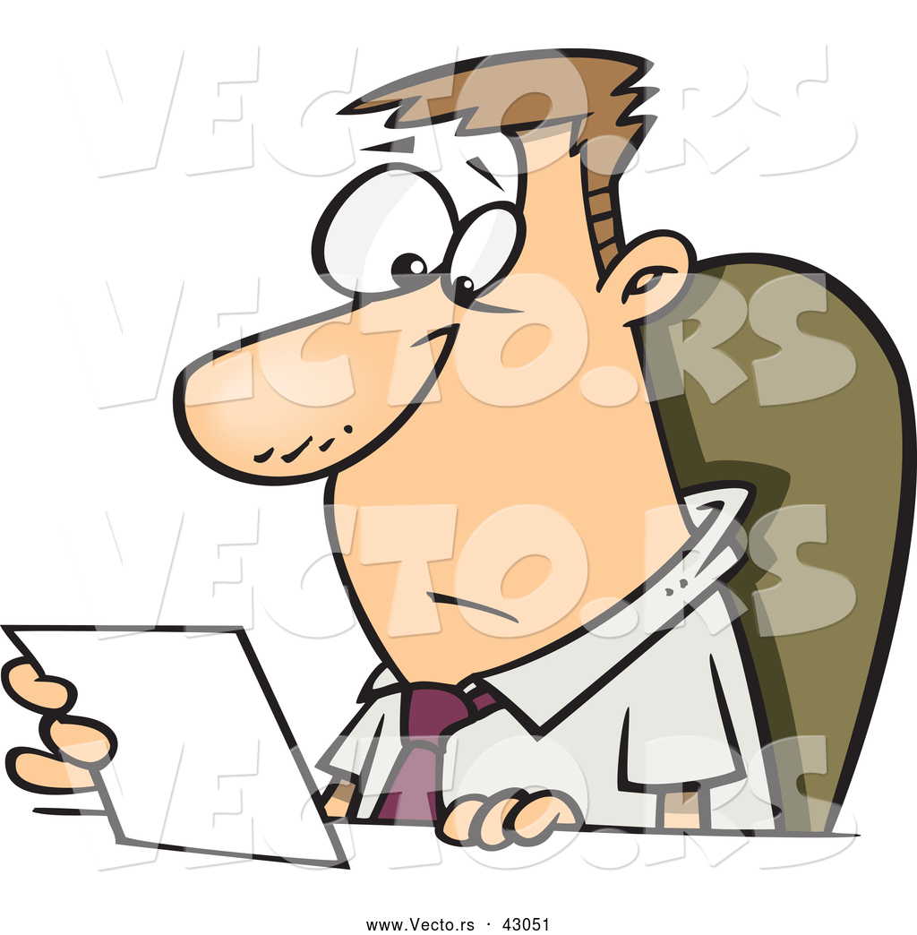 vector of a worried cartoon businessman sitting behind a desk and rh vecto rs