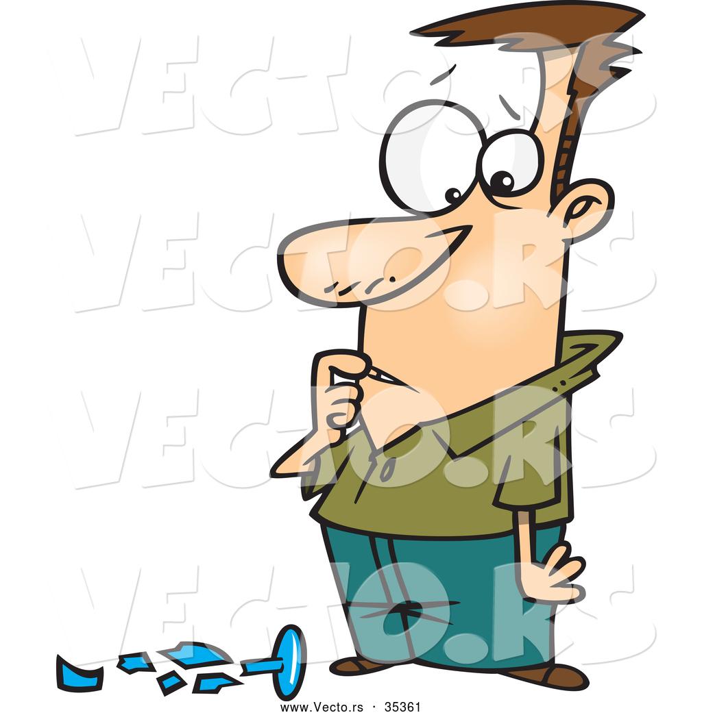 vector of a worried cartoon man standing over an expensive broken rh vecto rs