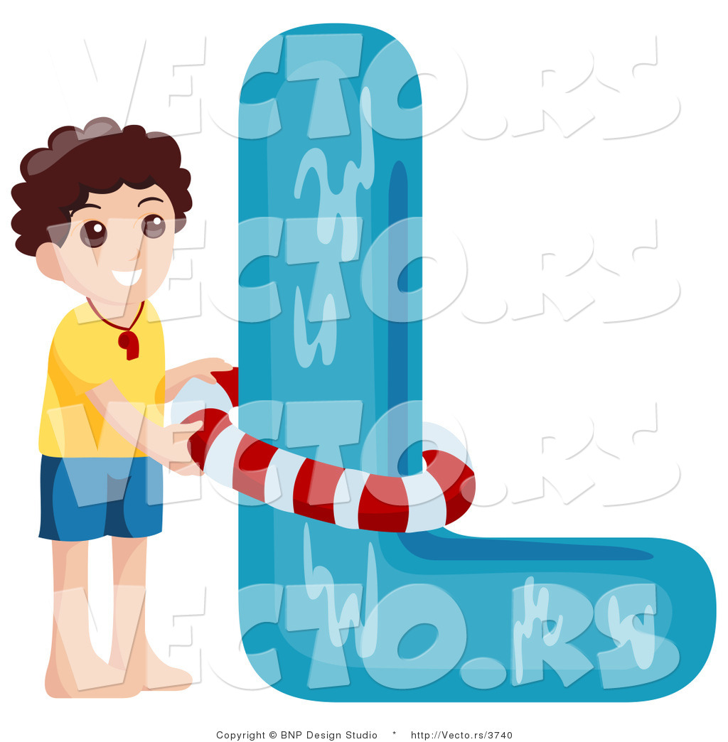 Vector of Alphabet Letter L with a Lifeguard Boy by BNP Design