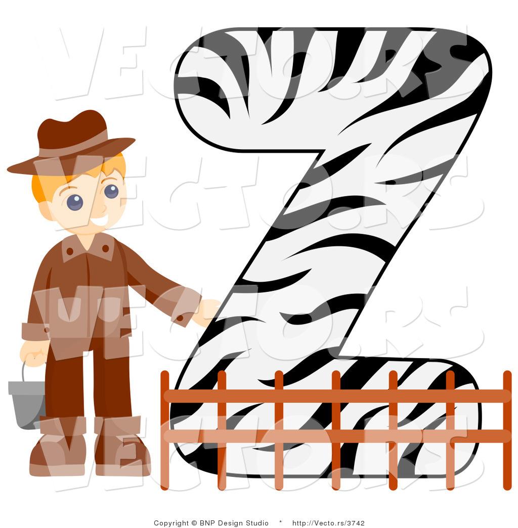 Vector of Alphabet Letter Z with a Zookeeper Boy by BNP