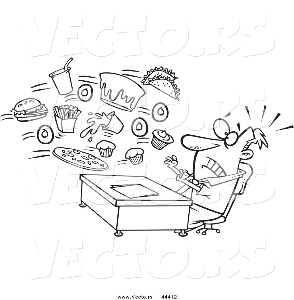 vector of an alerted cartoon businessman bombarded with junk food