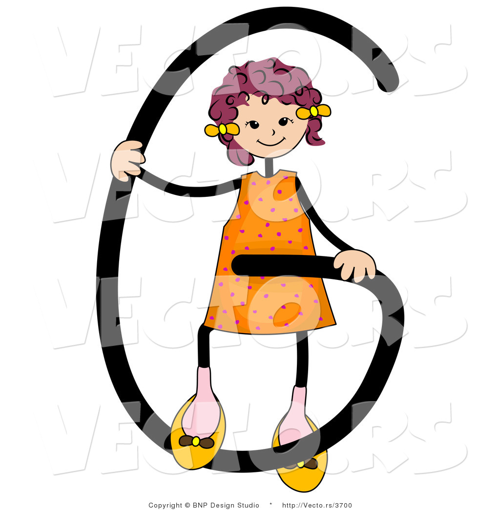 Vector Of An Alphabet Letter G With A Stick Figure Girl