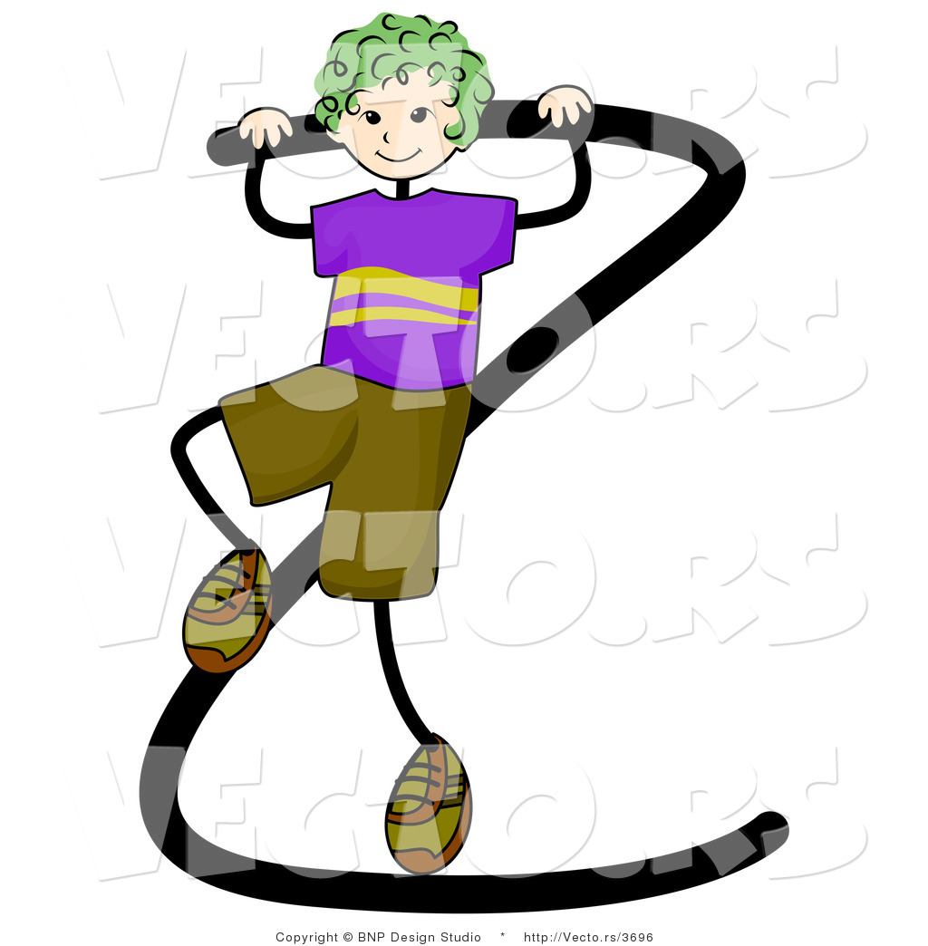 Vector Of An Alphabet Letter Z With A Stick Figure Boy