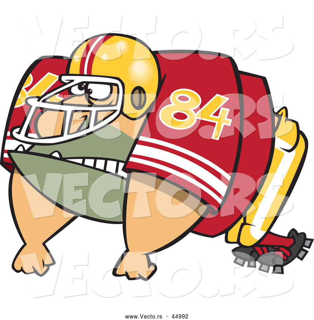 vector of an imposing cartoon american football player ready to charge forward