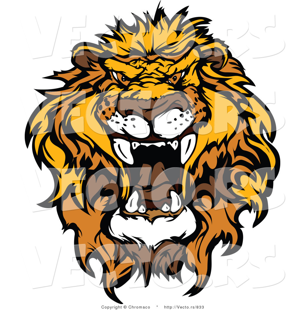 Vector Of An Intimidating African Lion Roaring By Chromaco 833
