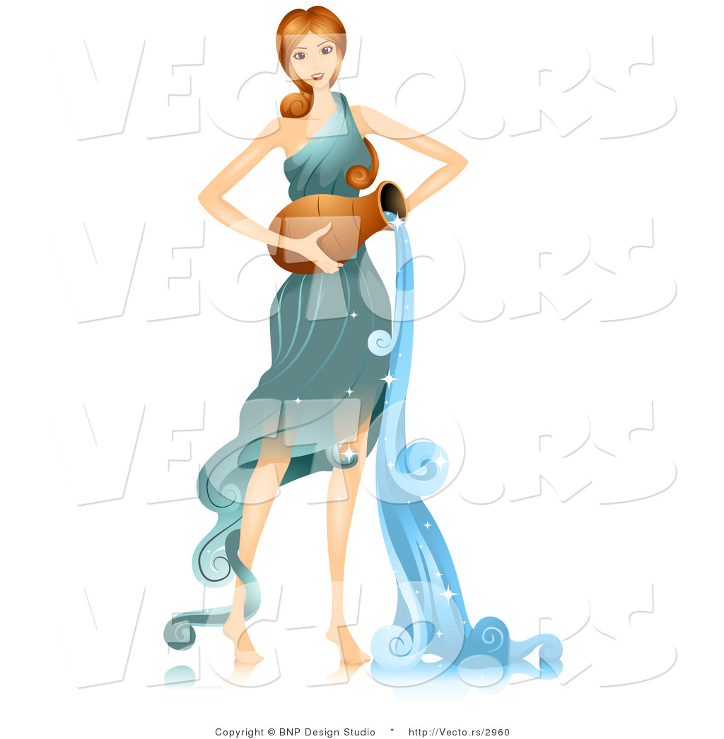 Vector of Beautiful Horoscope Aquarius Girl Pouring Water by BNP ...