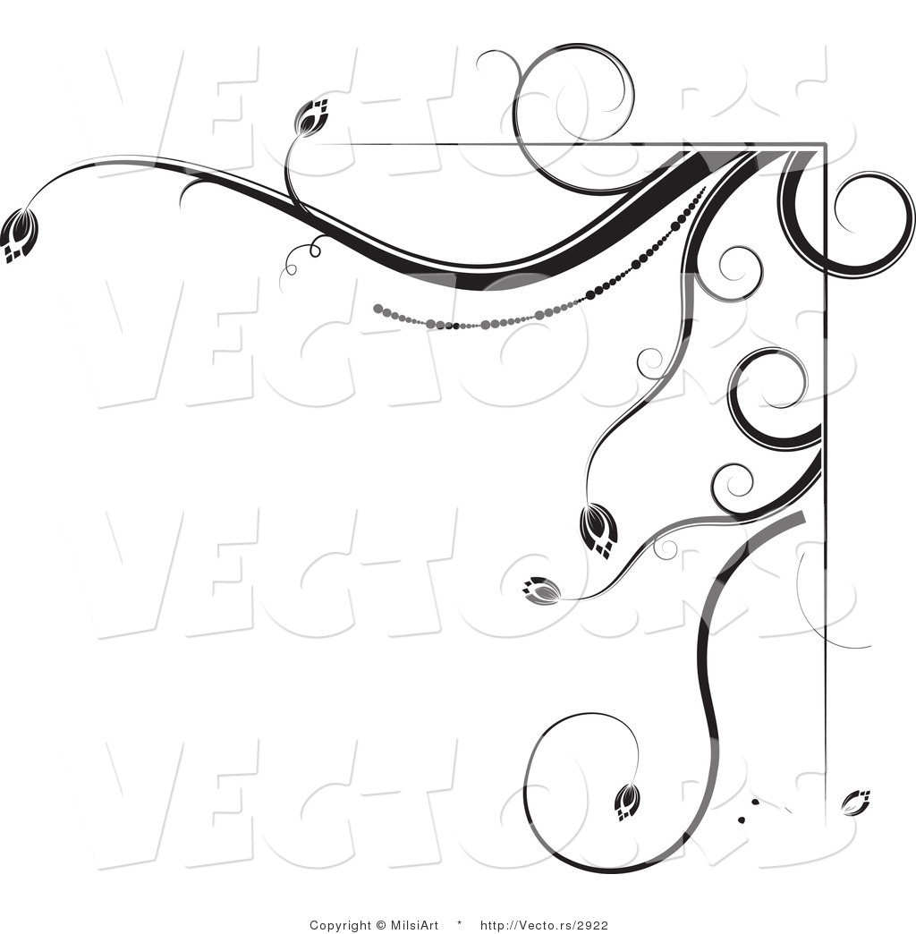 Vector of Black and White Floral Corner Border Design Element
