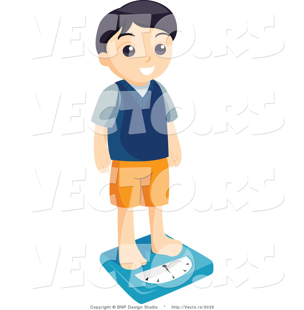 Vector of Boy Weighing Himself on a Scale by BNP Design Studio - #3035