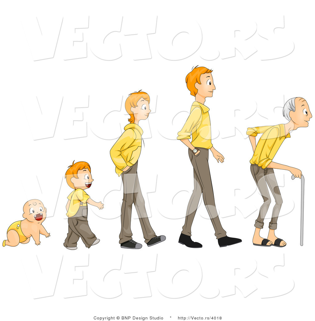 Vector Of Cartoon Baby Shown In Stages Of Growth From Boy Teen Man To
