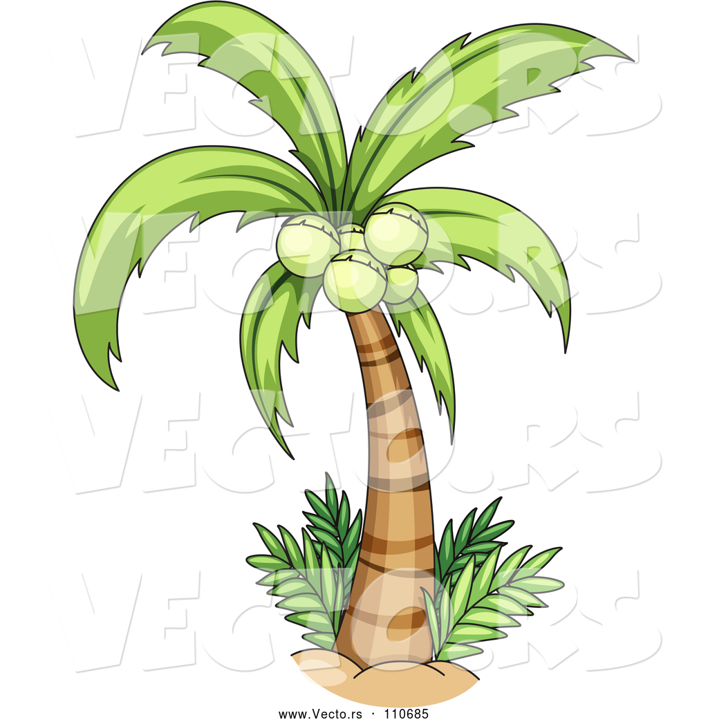 Vector of Cartoon Coconut Palm Tree by Graphics RF - #110685