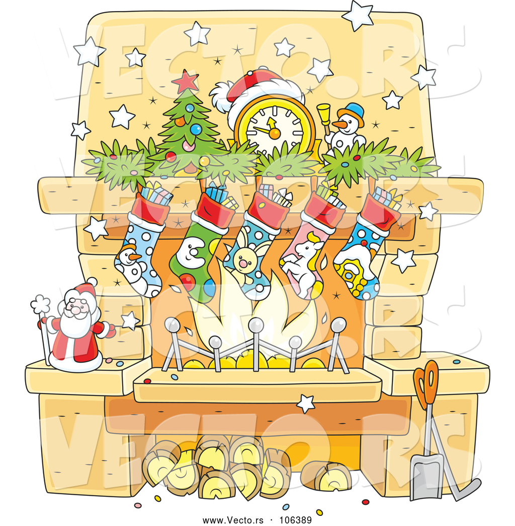 Vector of Cartoon Decorated Christmas Fireplace Hearth by