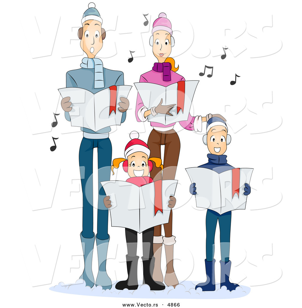 Vector of Cartoon Family Singing Christmas Carols Together by BNP ...