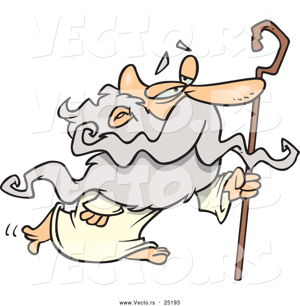 Vector of Cartoon Father Time Walking with Cane by Ron Leishman ...
