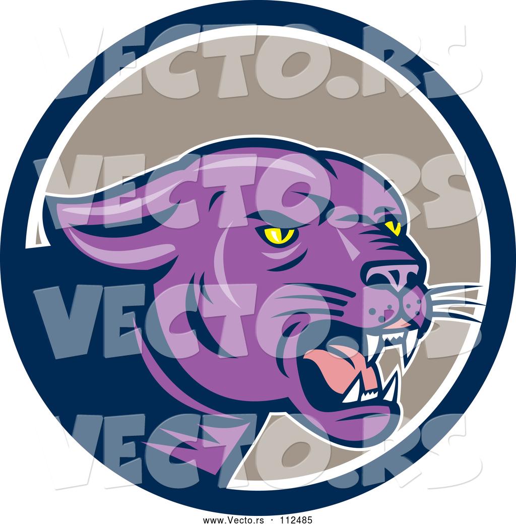 Black Jaguar Growl: Vector Of Cartoon Growling Purple Black Panther Cat In A