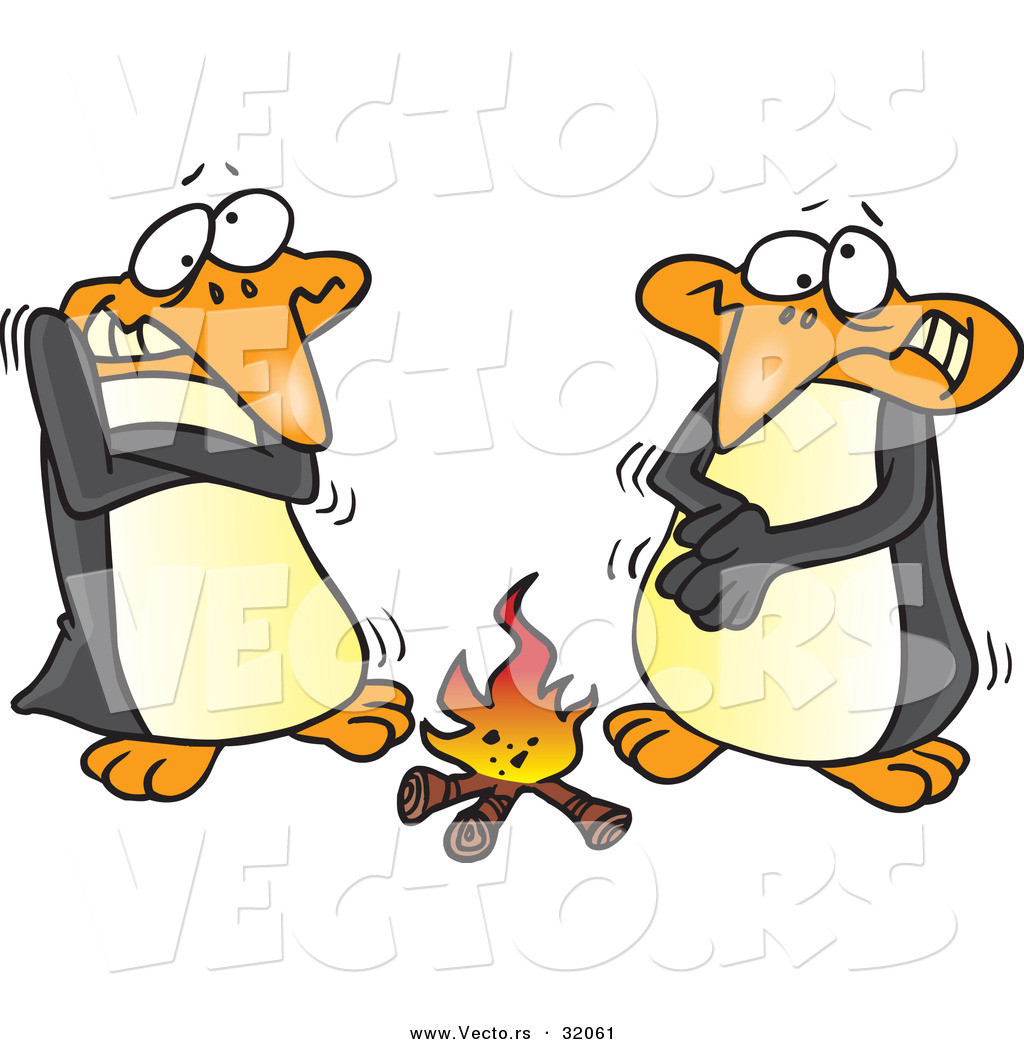vector of cartoon penguins warming up beside a campfire by