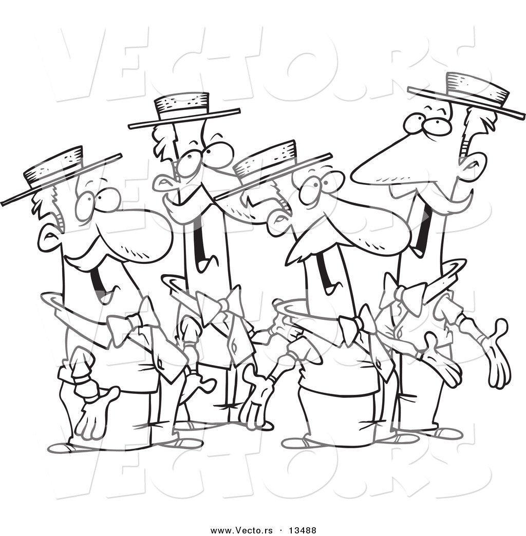 Vector of cartoon quartet of singing men coloring page for Coloring pages man