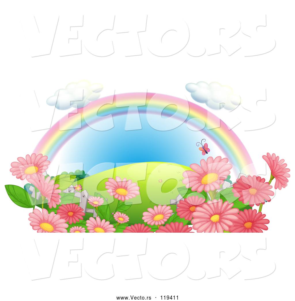 Vector of cartoon rainbow over a hill with pink flowers and vector of cartoon rainbow over a hill with pink flowers and butterflies mightylinksfo
