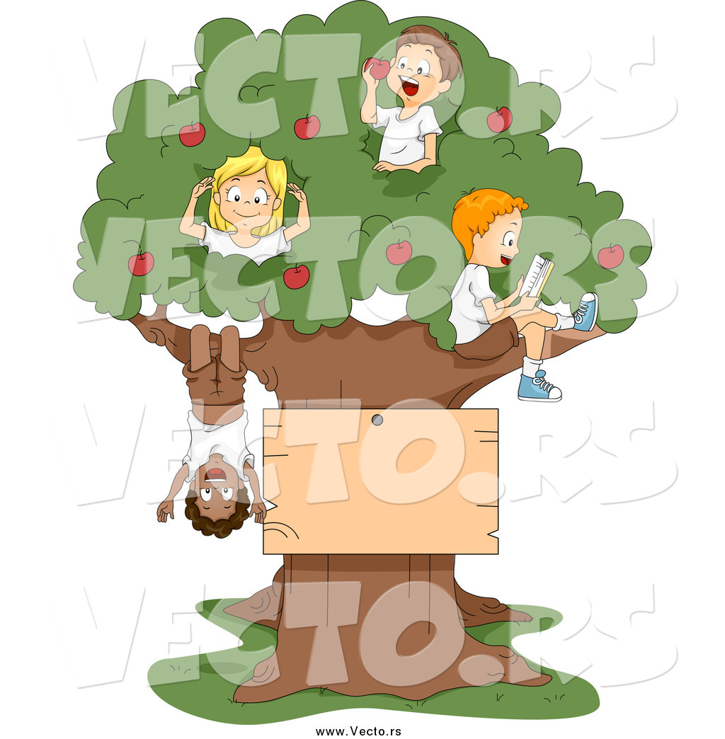 vector of cartoon summer kids playing in an apple tree with a