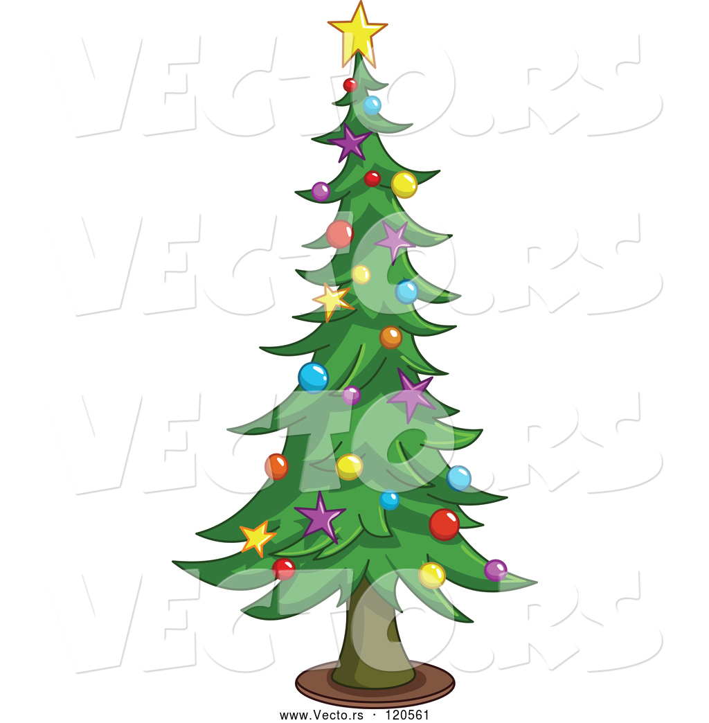Tall Christmas Tree Cartoon.Vector Of Cartoon Tall Christmas Tree With Star And Bauble