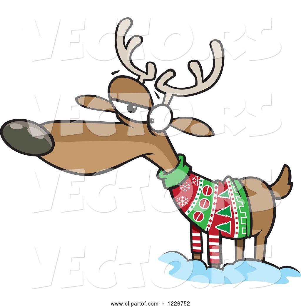 Ugly Christmas Sweater Cartoon.Vector Of Cartoon Unhappy Reindeer In An Ugly Christmas