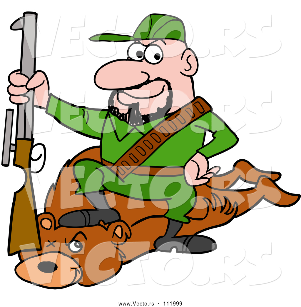 Vector of Cartoon White Male Hunter Sitting on a Bear with ...