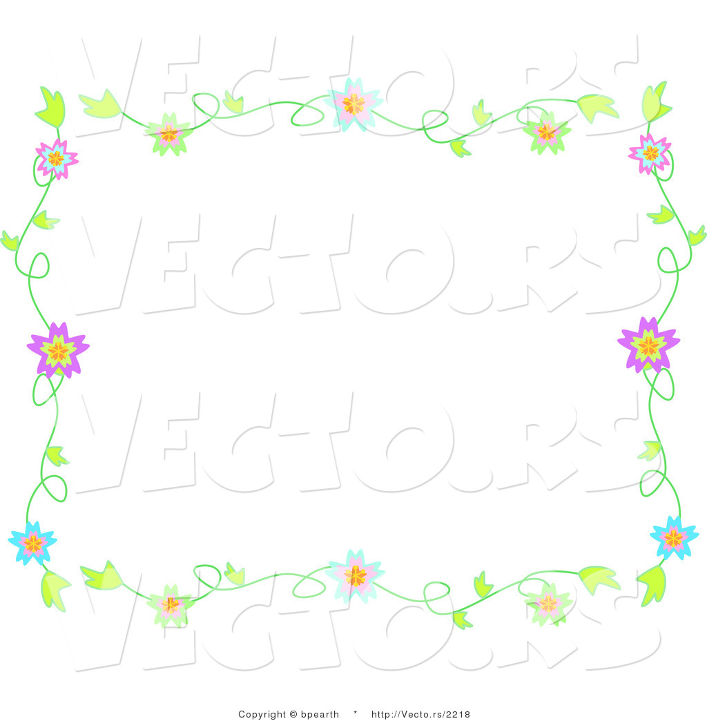 vector of colorful flowering vines background border design by
