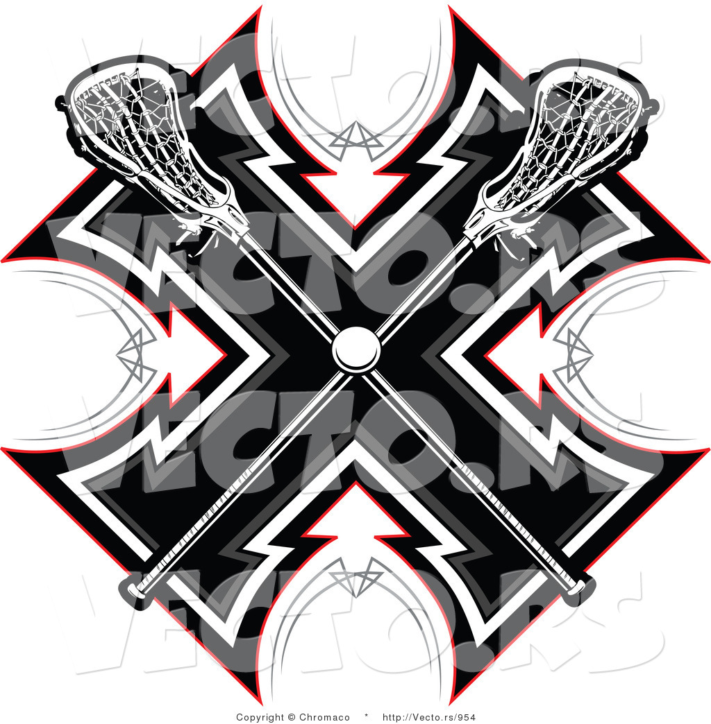 cbeae1827ad Vector of Crossed Lacrosse Sticks over a Tribal Background Design by ...
