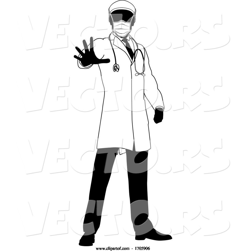 Vector Of Doctor In PPE Mask Stop Hand Sign Medical