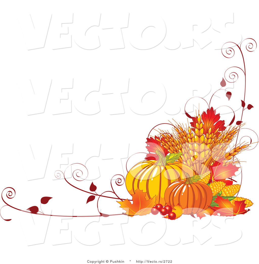 Vector of Fall Harvest with Wheat, Pumpkins, Vines and Autumn Leaves ...