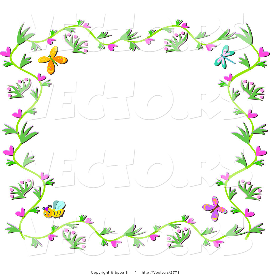 Vector of Floral Vines Border with Hearts, Bees and Butterflies by ...