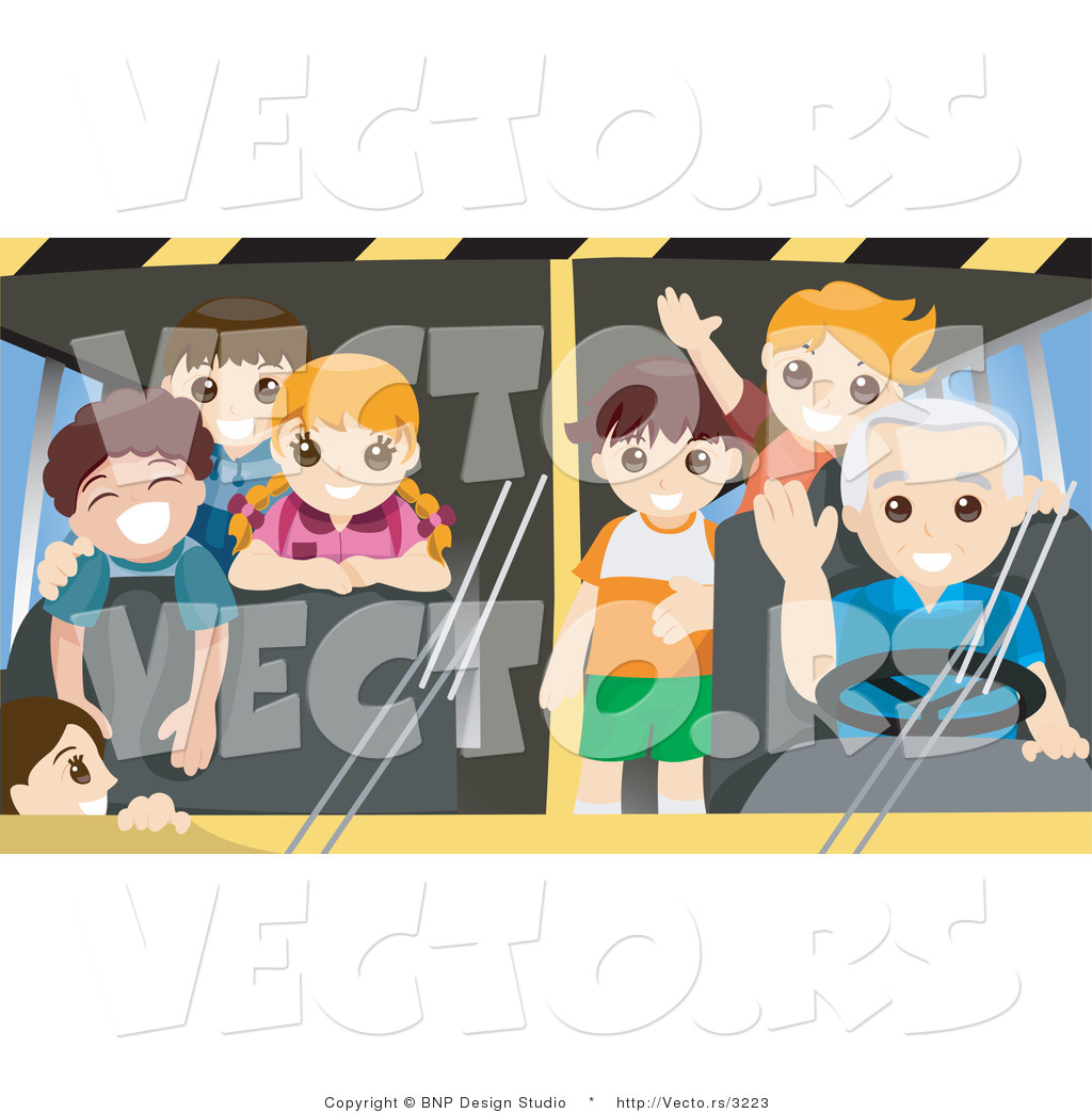 Vector of Friendly School Bus Driver with Happy Students Waving by ...