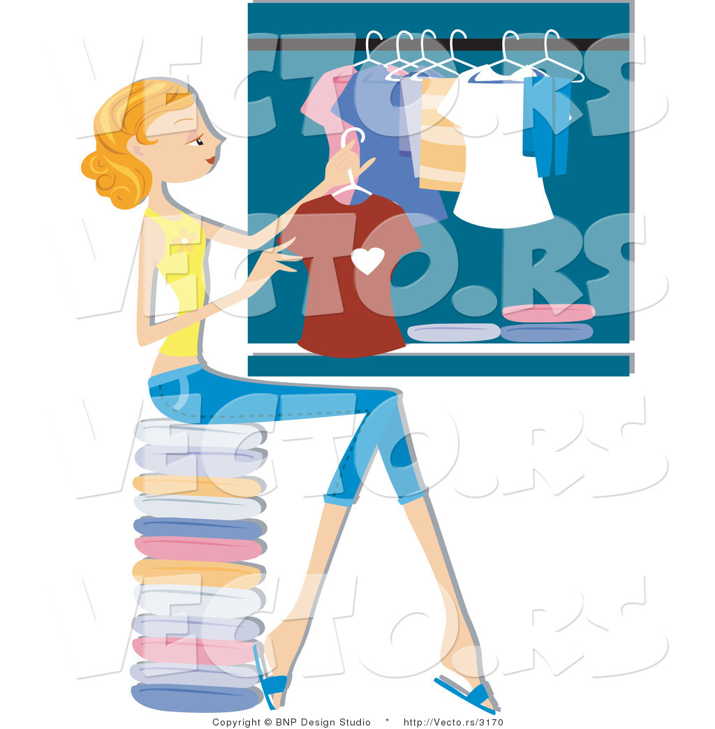 Vector Of Girl Hanging Clean Laundry In A Closet