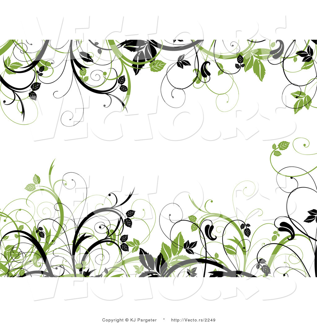 Vector Of Green And Black Leafy Vines Border Frame With