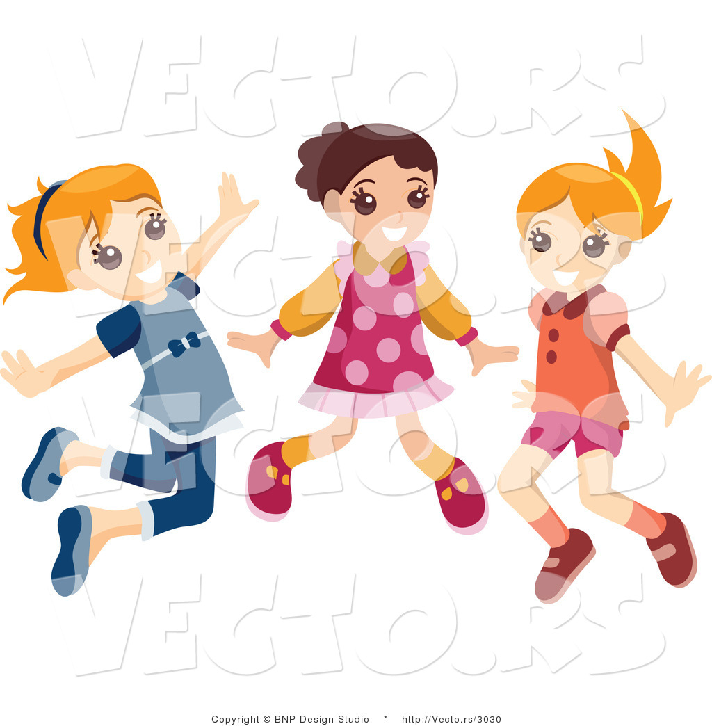 vector of group of three energetic happy girls jumping by bnp design rh vecto rs Girl Band Clip Art Happy Girl Clip Art