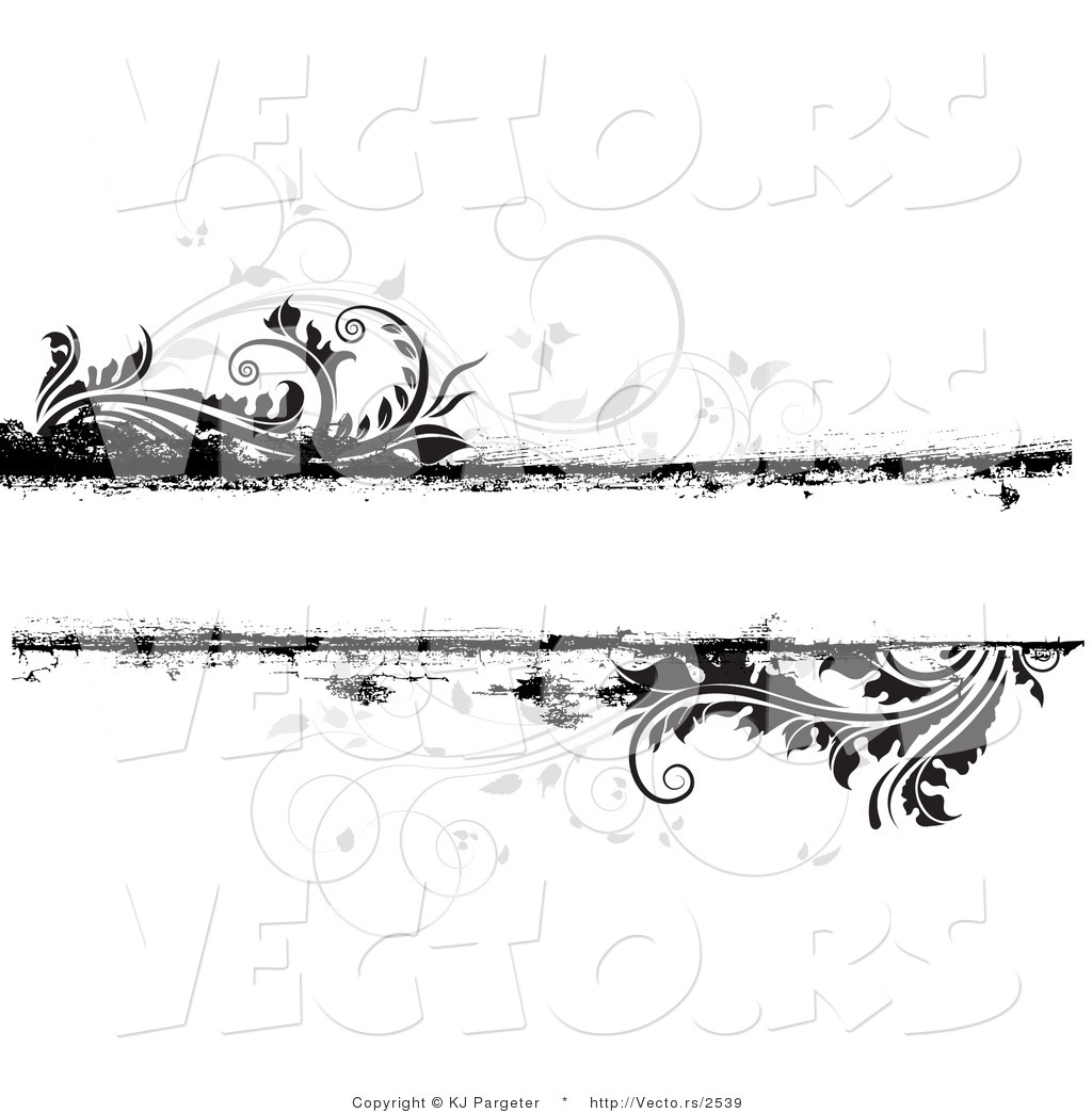 Vector Of Grungy Gray And Black Floral Background With Blank