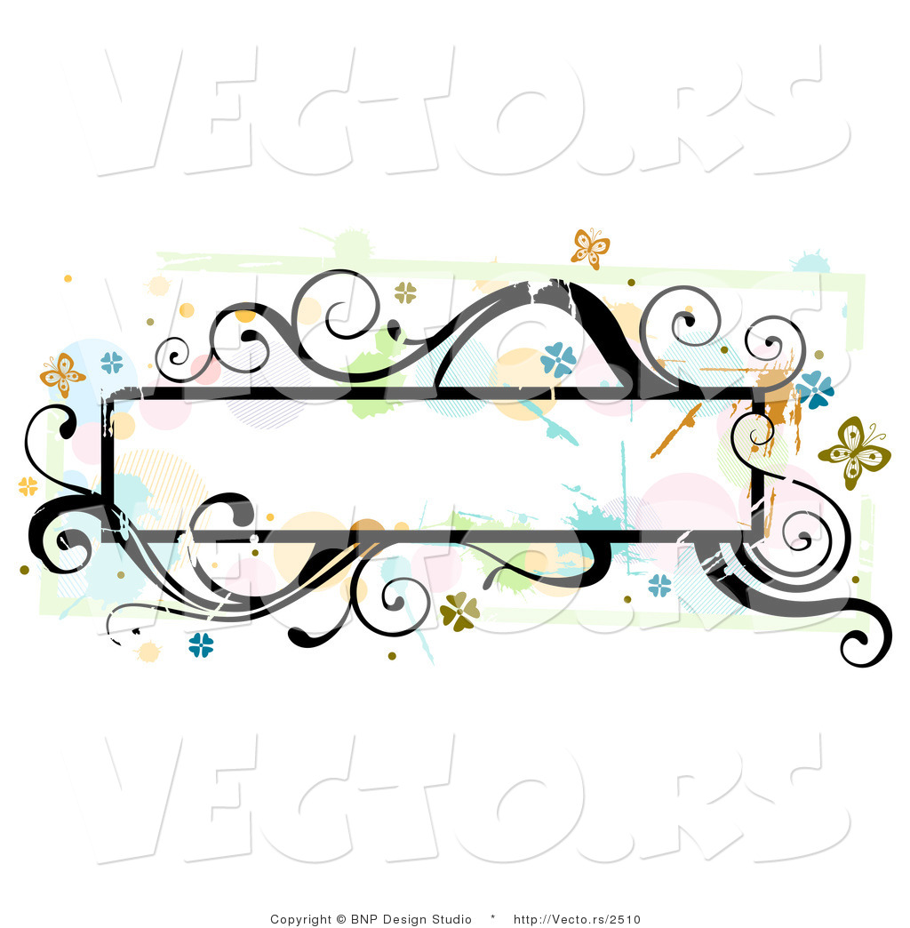 Vector of Grungy Long Background Frame with Splatters, Vines