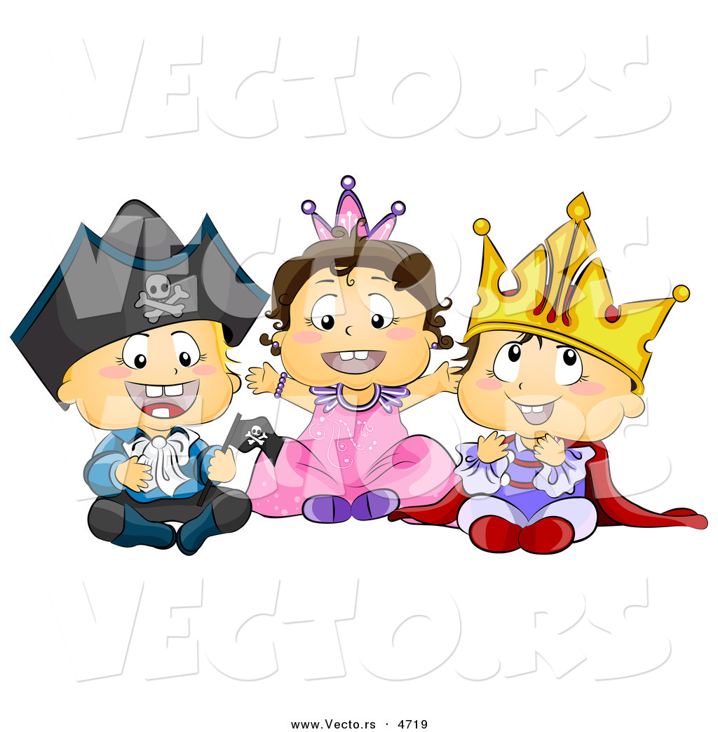 vector of halloween cartoon toddlers wearing pirate princess and king costumes