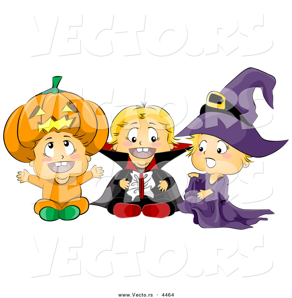 vector of halloween cartoon toddlers wearing pumpkin vampire and witch costumes - Free Cartoons For Toddlers
