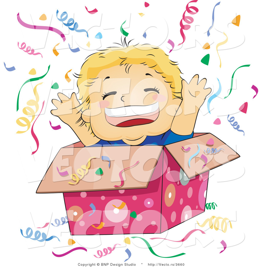 Vector of Happy Boy Jumping out of a Gift Box at a Surprise Party ...