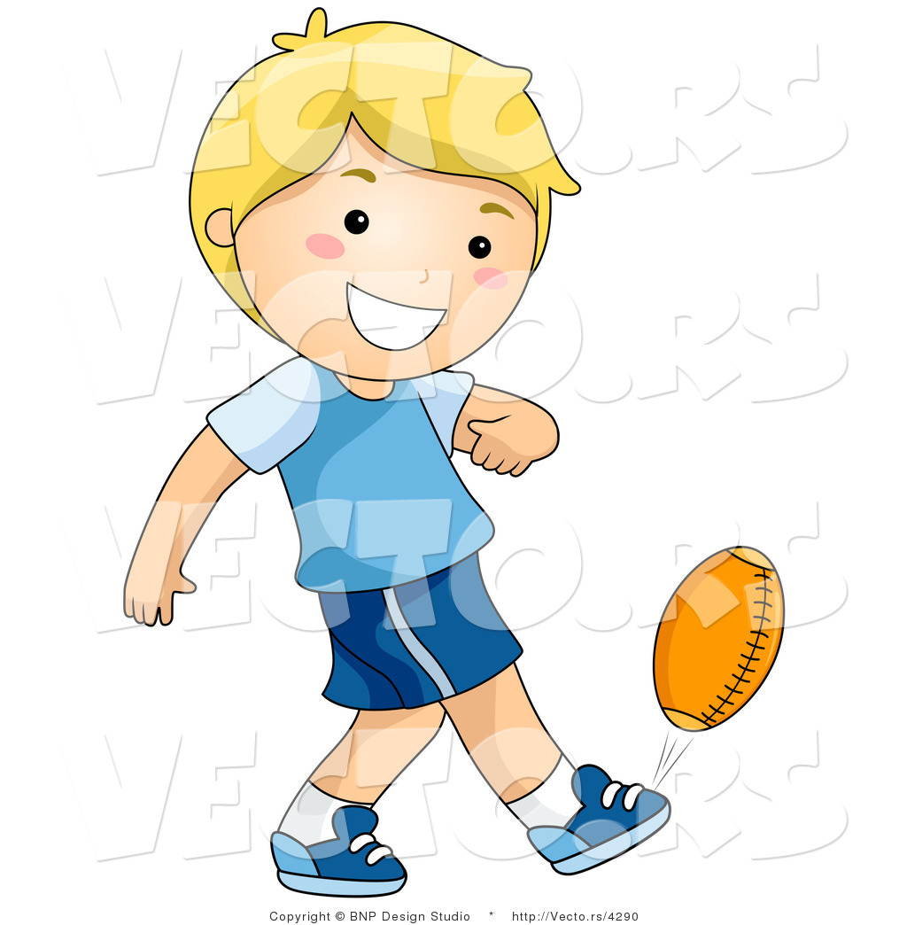 Vector of Happy Boy Kicking Football by BNP Design Studio - #4290