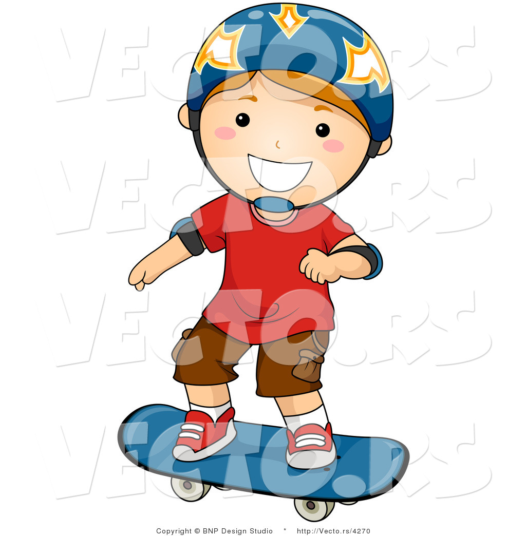 Vector Of Happy Boy Wearing Helmet While Skateboarding By