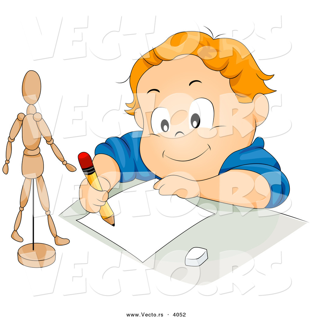 vector of happy cartoon boy drawing stick figure model on paper with pencil - Cartoon Kid Drawing