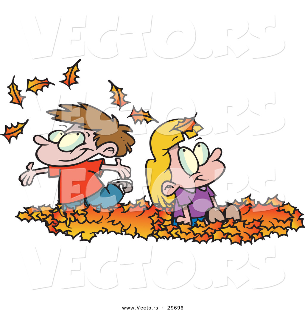 Vector Of Happy Cartoon Kids Playing In A Pile Of Autumn Leaves By Toonaday 29696