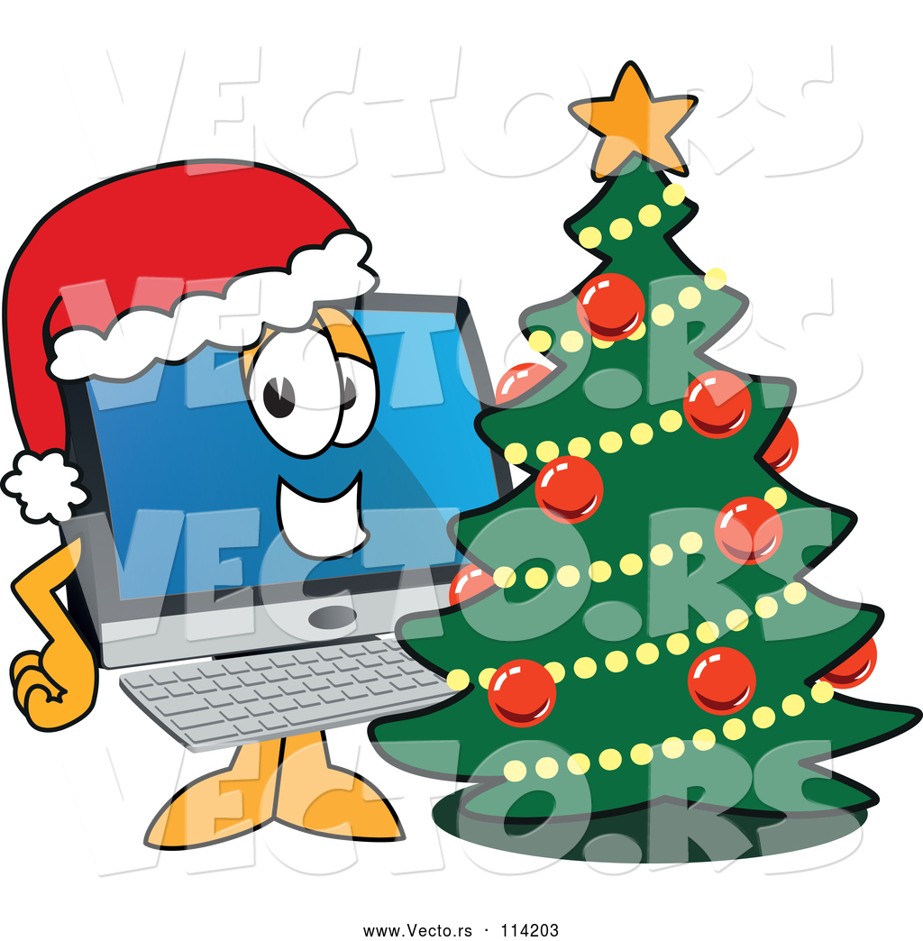 Vector Of Happy Cartoon Pc Computer Mascot Wearing A Santa Hat By A