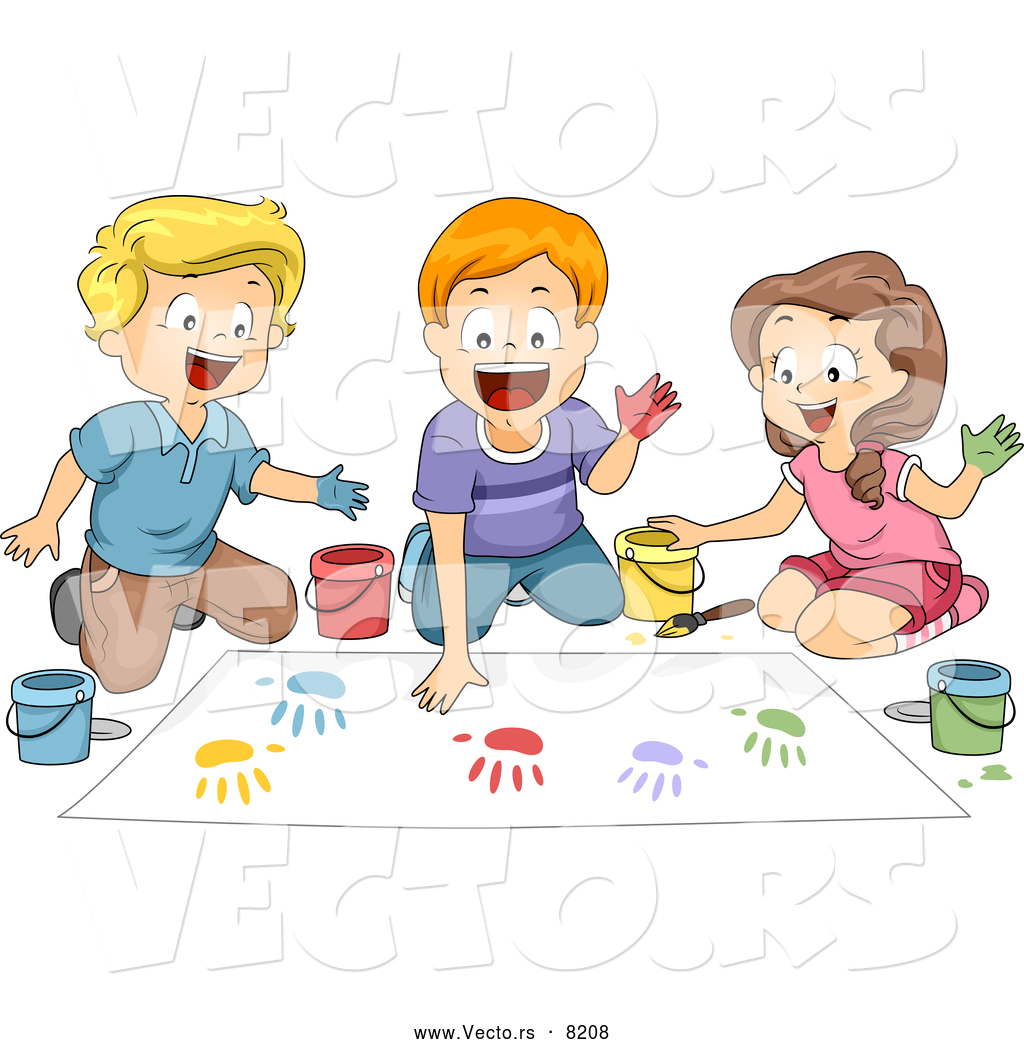 vector of happy cartoon school children hand painting in art classroom - Cartoon Image Of Children